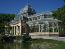 Crystal Palace Madrid. Front shot of the Palacio de Cristal located inside Parque del Retiro public park in Madrid, Spain Stock Images