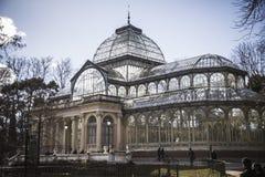 Crystal Palace (Palacio de Cristal) i Parque del Retiro i Madr Royaltyfri Foto