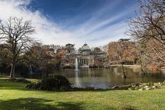 Crystal Palace (Palacio de cristal) nel parco di Retiro, Madrid, Spagna Fotografie Stock Libere da Diritti