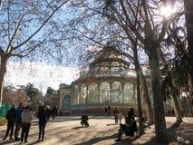 Crystal Palace Palacio de som är cristal i Retiro, parkerar, Madrid, Spanien Fotografering för Bildbyråer
