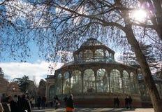 Crystal Palace Palacio de som är cristal i Retiro, parkerar, Madrid, Spanien Royaltyfria Bilder