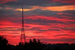 Crystal Palace Transmitting Station at dawn. The high Crystal Palace transmitting station at dawn, Bromley, London, UK Royalty Free Stock Images