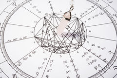 Crystal pendulum with zodiac wheel. For astrology Stock Photography