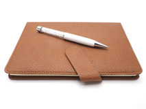 Crystal penna med konstläderboken på vit bakgrund Arkivfoto
