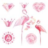 Crystal Pink flamingo. Diamond, crown, heart, drop of water Royalty Free Stock Photo