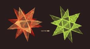crystal Przedmiot z kropkami Cząsteczkowa siatka 3D technologii styl z cząsteczką również zwrócić corel ilustracji wektora royalty ilustracja