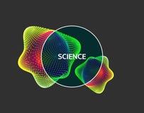 crystal Przedmiot z liniami i kropkami Cząsteczkowa siatka 3D technologii styl z cząsteczką ilustracja wektor
