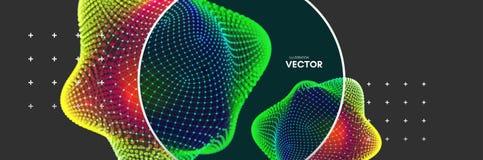 crystal Przedmiot z liniami i kropkami Cząsteczkowa siatka 3D technologii styl z cząsteczką również zwrócić corel ilustracji wekt Fotografia Royalty Free