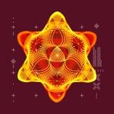 crystal Przedmiot z liniami i kropkami Cząsteczkowa siatka 3D technologii styl z cząsteczką również zwrócić corel ilustracji wekt royalty ilustracja