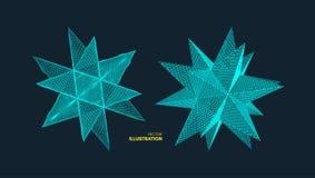 crystal Przedmiot z związanymi liniami i kropkami Cząsteczkowa siatka 3d technologii futurystyczny styl dla chemii i nauki ilustracja wektor