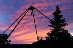 Crystal Pyramid in de Zonsondergang van Vermont stock foto's