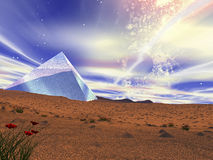 A crystal pyramid in the middle of desert. Royalty Free Stock Images