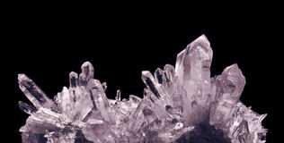 Crystal quartz. Quartz crystals, on the black Royalty Free Stock Photography