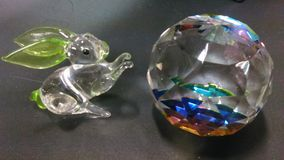 Crystal and Rabbit glass miniature Stock Photography