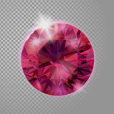 Crystal red pink ruby gem jewelry precious stone. Realistic 3d detailed vector illustration on transparent background stock illustration