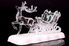 Crystal Reindeer och släde royaltyfri bild