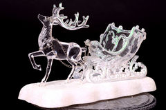 Crystal Reindeer and Sleigh Royalty Free Stock Image