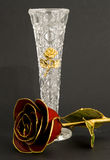 Crystal Rose and Vase Royalty Free Stock Photography
