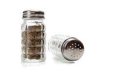 Crystal salt and pepper shaker on white Stock Photos
