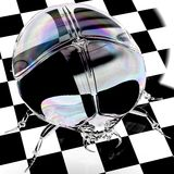 Crystal scarab. Illustration depicting a big glass scarab on a black and white chequered background Stock Photo