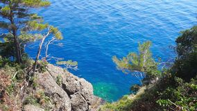 Crystal sea with trees on rocks in Paraggi bay in Portofino national park in Italy. This bay and its beach is one of the main tourist attractions in Portofino stock video footage