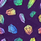 Crystal seamless pattern in 80s holographic style royalty free illustration