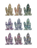 Crystal Set. A set of geometric crystals with a texture and gradient colors Royalty Free Stock Images