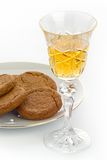 Crystal sherry glass with biscuits Royalty Free Stock Images