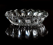 Crystal shiny glass ashtray Royalty Free Stock Photo