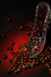 Crystal shoe with coffee Royalty Free Stock Photo