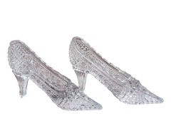 Crystal shoes. On a white background Royalty Free Stock Image