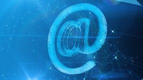 Crystal At Sign in Cyberspace blu illustrazione vettoriale