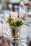 Crystal, silver and wild flowers Stock Images