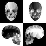 Crystal skulls on black and white backgrounds Stock Photo