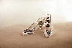 Crystal Slipper. Representing fashion and cinderella-like fantasies Royalty Free Stock Photography