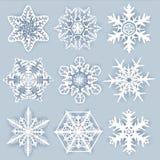 Crystal snöflingor - vektoruppsättning för formgivare stock illustrationer