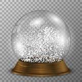 Crystal snöjordklot på den wood ställningen Genomskinlig vektorsnowglobe med wood garnering stock illustrationer