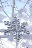 Crystal snow flake on Christmas tree Stock Photos