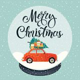 Crystal snow globe on black stand isolated on transparent vector background. Red car with christmas tree and gift boxes stock illustration