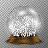 Crystal snow globe on wood stand. Transparent vector snowglobe with wood decoration. Stock Photography