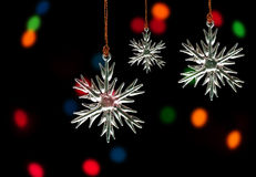 Crystal snowflake Christmas ornaments Stock Photos