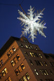 Crystal Snowflake over 5th Avenue, Manhattan, NYC Royalty Free Stock Photos