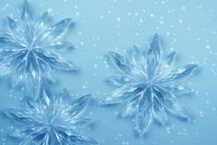 Crystal snowflakes. Christmas decoration - Crystal snowflakes and snow. Background for card Royalty Free Stock Photography