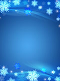 Crystal snowflakes blue background Royalty Free Stock Photo
