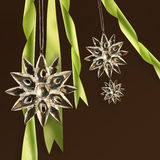 Crystal snowflakes with green ribbons Royalty Free Stock Images