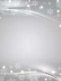 Crystal snowflakes grey background. Grey christmas background with crystal snowflakes, stars and curves Royalty Free Stock Photos