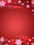 Crystal snowflakes red background stock illustration