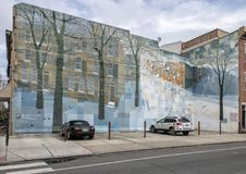 `Crystal Snowscape`, a City of Philadelphia Mural Arts Program Mural in South Philadelphia by David Guinn. Pictured is `Crystal Snowscape`, a 1999 City of stock photography