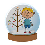 Crystal sphere with christmas tree and blond boy inside Royalty Free Stock Images