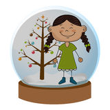 Crystal sphere with christmas tree and girl with braided hair inside Stock Photos